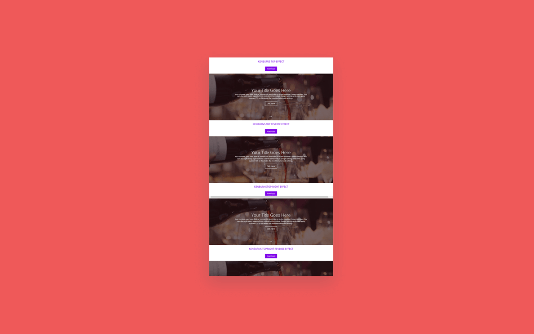 How to add Various Kenburns effects in divi fullwidth slider
